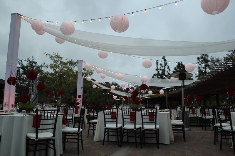 Market Lights Truss Tower with Paper Lanterns and Chiffon Draping