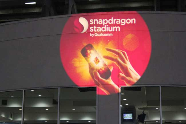 Snapdragon Gobo on Qualcomm Stadium Wall